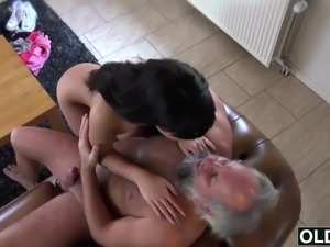 Sexy young girl fucked by fat old man cum swallow babe