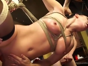 Everyone gets a turn to fuck this hottie in the restaurant. It's a hot orgy...