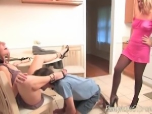 Two pantyhose femdom Mistresses torment male slave