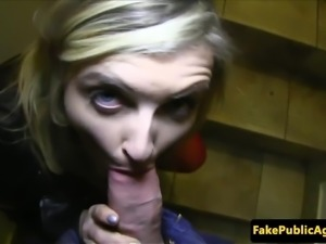 Busty euro pulled in stockings then sucks