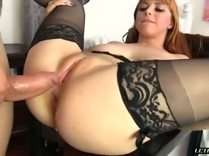 Pleasure seeking seductress Penny Pax takes a nice dick up her poop chute