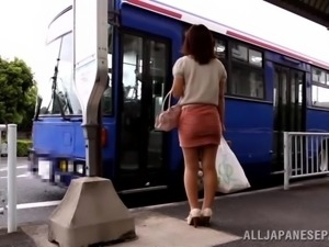 Gorgeous Japanese In High Heels And Miniskirt Banged In A Bus