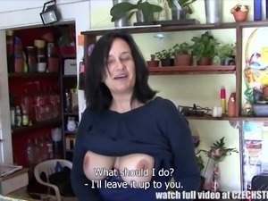 This busty lady offers something special at her flower shop. You can also get...