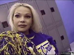 Captivating cheerleader tight anal getting pounded in the locker room