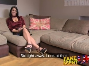 Fake Agent UK Posh raven-haired MILF swallows big cock