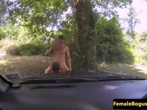 British cabbie babe tugging after doggystyle