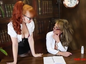 Red-XXX - Horny and Busty MILFS bang on the office desk