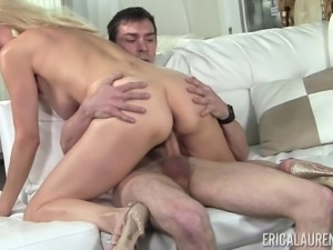 Blonde MILF Erica Lauren seduced by a fellow with a hard cock