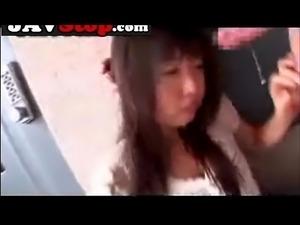 Cute asian teen face fucked in dress