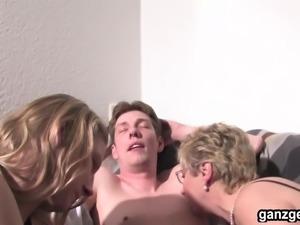 GanzGeil.com MILF and German babe sharing a hard cock