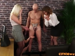 Office cfnm femdom toying dudes ass