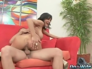 Sami Scott Hot brunette wife takes fat cock
