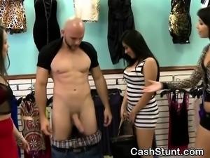 Dark Haired Beauty At Cash Stunt