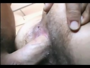 Hairy pussy fucked from behind