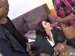 Big titted Cougar Tiffany Mynx Fucks Two Black Cocks