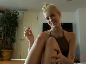 Cumming on Haley Reed's feet after a hot blowjob