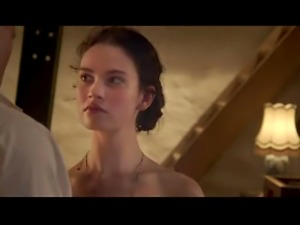 Lily James tits and ass in a sex scene