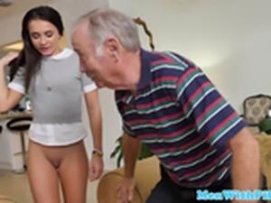 Naughty schoolgirl pussy pleasured by old men