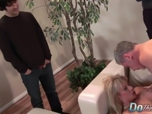 Sexy blonde MILF fucked good in front of her husband