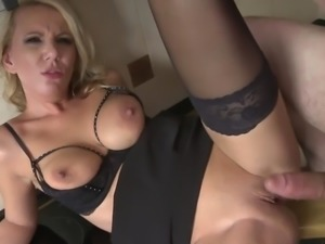 Real MILF gets cum to mouth on her kitchen