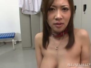 POV Blowjob by Japanese Girl with Huge Tits Sayuki Kanno