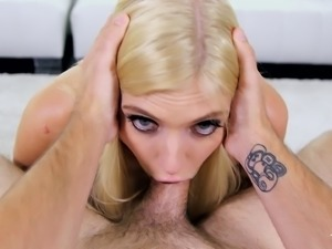 Giselle Palmer takes off her clothes before sucking a dick