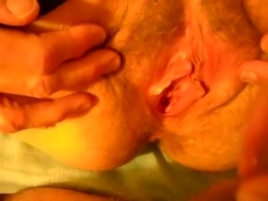 fucking wife's hairy wet pussy then she spreads for cum