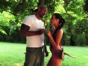 Tiffany Doll chokes on a massive boner before a hardcore fuck