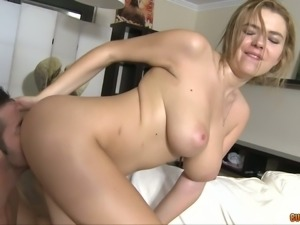 Bosomy light haired bitch gets fucked in sideways position