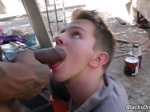 Tattooed gay doggystyle drilled hardcore while moaning
