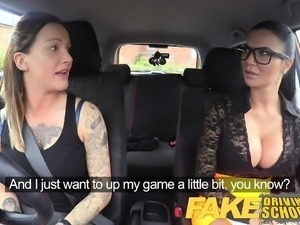 Fake Driving School Driver gets strap on lesbian fucking