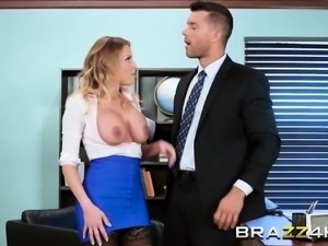 Busty babe gets ass fucked by  her boss