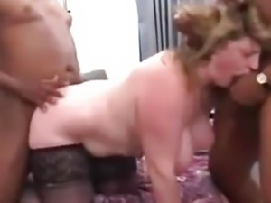 Mature fuck two BBC in hotel