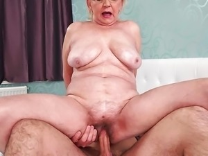 Fat hairy granny and her younger lover