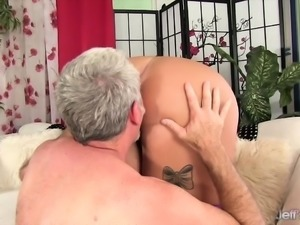 Pink haired BBW gets her tits sucked by a mature guy He