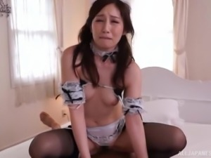 Sasaki Aki is a hot maid who knows how to handle a prick