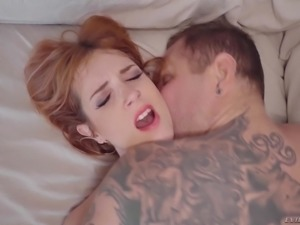 Redhead vixen Irina Vega spreads her legs for a nasty lover