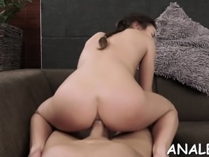 Lusty dilettante gal asked her friend to drill her ass hole