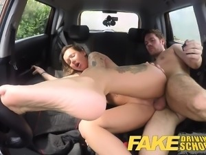 Fake Driving School Creampie advanced lesson for tattooed