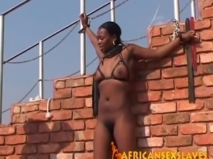 African slave with hairy cunt gets tied up outdoors